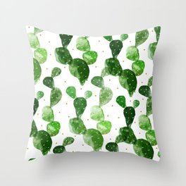 cactus watercolor pattern Throw Pillow