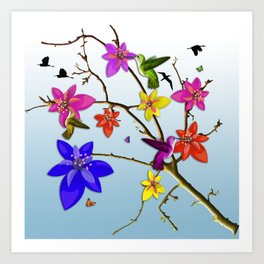 Birds with flowers and butterflys Art Print