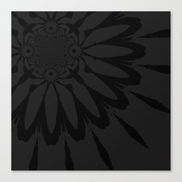The Modern Flower Slate Black Canvas Print