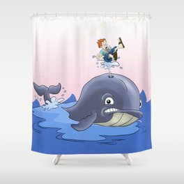 Jonah and the big fish Shower Curtain