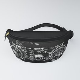 1919 Motorcycle Patent Black White Fanny Pack
