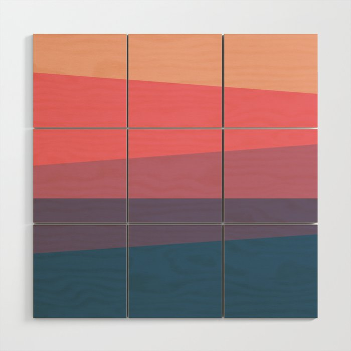 Red Blue Color Palette Wood Wall Art By Artsimo Society6