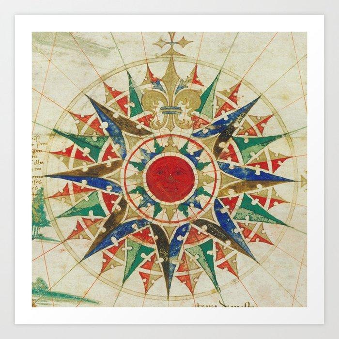 Vintage Compass Rose Diagram (1502) Kunstdrucke
