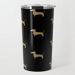 Dachshund Dog Gold Glitter Pattern Travel Mug