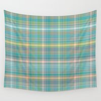 plaid Wall Tapestries featuring Summer plaid by DesignsByMarly