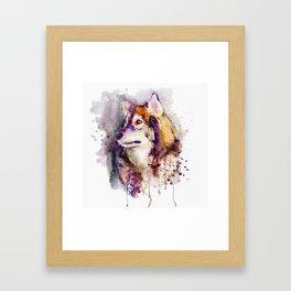 Watercolor Wolf Portrait Framed Art Print