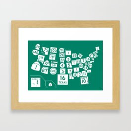 United State Highways of America - Interstate Green Framed Art Print