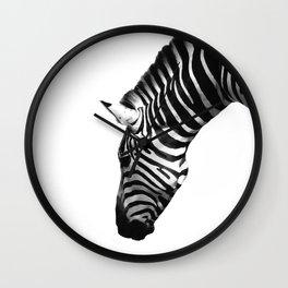 Zebra by Kokatu white background monochrome Wall Clock