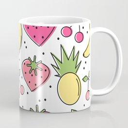 cute heart strawberries, cherries, pineapples and banana pattern background Coffee Mug