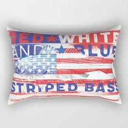 Fishing American Flag Striped Bass Tee Rectangular Pillow