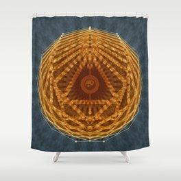 Mandala of Radiant Abundance (grey-gold) Shower Curtain