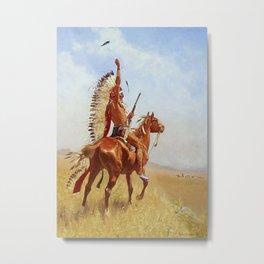 """Defiance"" Western Art by Frederick Remington Metal Print"
