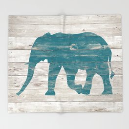 Rustic Teal Elephant on White Painted Wood A222a Throw Blanket