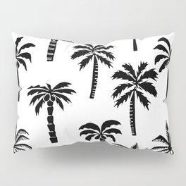 Palm Trees linocut black and white tropical summer art minimalist decor Pillow Sham