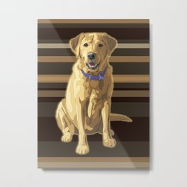 Happy Yellow Labrador Retriever Retro Metal Print