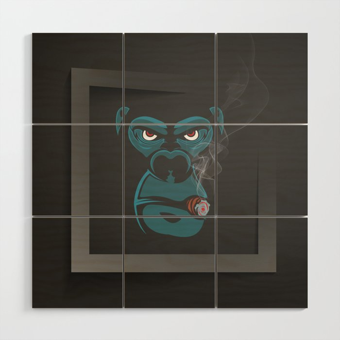 angry smoked gorilla wood wall art by drawfine