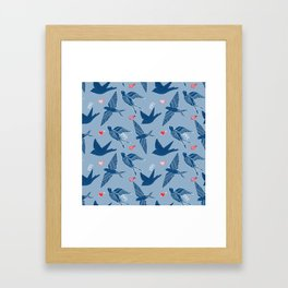 Swallows and love hearts, classic blue and slate blue with love hearts Framed Art Print