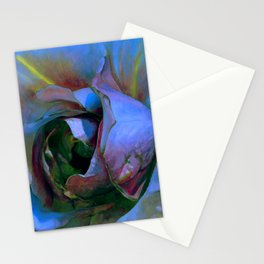 Floribunda Rose - Cool Blue Green Stationery Cards