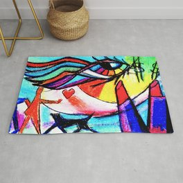 Rainbow Eye With Lipstick Dove And Cat Rug