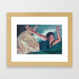 God's Orchestra, oil painting portrait of woman flying, lighthouse, dress, strong powerful woman Framed Art Print