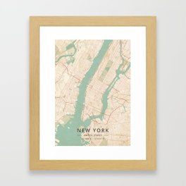 New York, United States - Vintage Map Framed Art Print