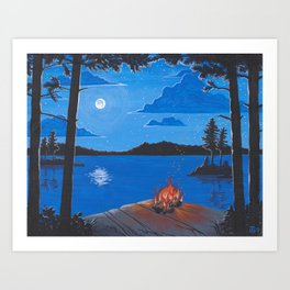 Moonlit Firelight Art Print