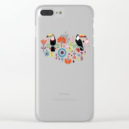 Colorful Toucans - cream Clear iPhone Case