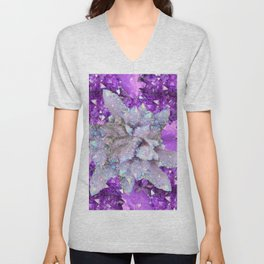 WHITE DRUZY QUARTZ & PURPLE AMETHYST CRYSTAL VIGNETTE Unisex V-Neck