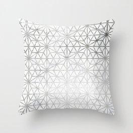 Modern silver stars geometric pattern Christmas white marble Throw Pillow
