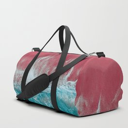 SPLASH II - Electric Pink Sand and Turquoise Waves Art Print Duffle Bag