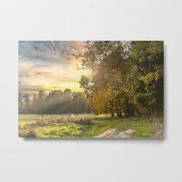 Idyllic  Autumn Sunset In Germany Metal Print