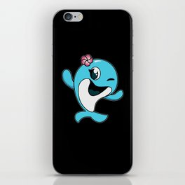 winking little dolphin iPhone Skin