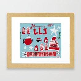 winter gear blue Framed Art Print