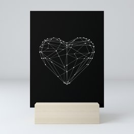 Polygon Love Heart modern black and white minimalist home room wall decor canvas Mini Art Print
