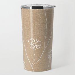Dandelions flowers illustration on beige kraft Travel Mug