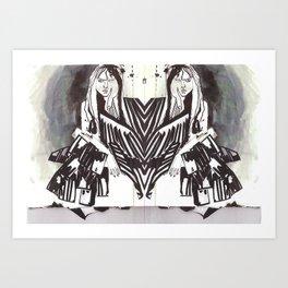 BLACK/WHITE MIRROR GIRL Art Print
