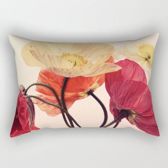 Posing Poppies - bright, vintage toned poppy still life Rectangular Pillow