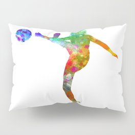 Woman soccer player 17 in watercolor Pillow Sham