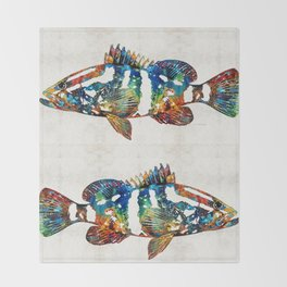 Colorful Grouper 2 Art Fish by Sharon Cummings Throw Blanket