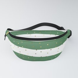 Simple Christmas seamless pattern Golden Confetti on Green and White Stripes Background Fanny Pack