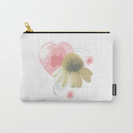 Yellow Daisies, Pink Hearts and Blue Swirls Carry-All Pouch