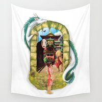 spirited away Wall Tapestries featuring Spirited Away by Steph Harrison