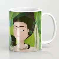 frida Mugs featuring Frida by Mister Linus