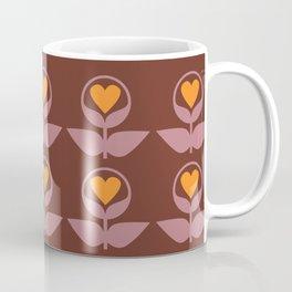 Love Flowers 70s Pattern Brown Coffee Mug