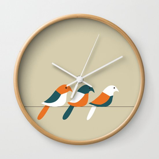 Birds on wire Wall Clock