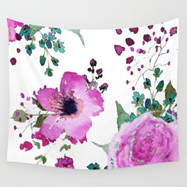 Poppies Roses Wildflowers Fushia Wall Tapestry
