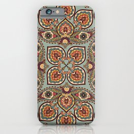 Flourish tiled oriental ethnic background. Arabic ornament with fantastic flowers and leaves. Wonderland ornamental motives of the paintings of ancient Indian floral illustration pattern. iPhone Case