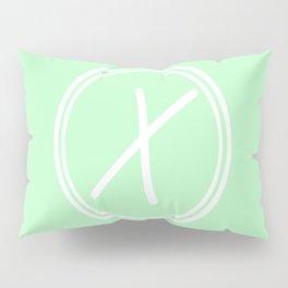 Monogram - Letter X on Mint Green Background Pillow Sham
