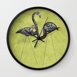 Halloween Flamingos Wall Clock