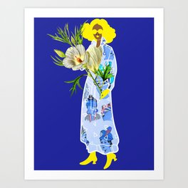 Faces on Her Dress Art Print